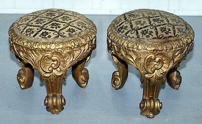 Rare Pair Of Early 19Th Century Italian Giltwood Stools Hand Carved Solid Timber