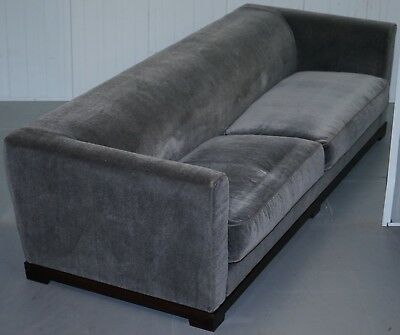 Rrp £10500 Promemoria Wanda 4 Seat Silky Sofa Grey Velvet Sofa Feather Filled