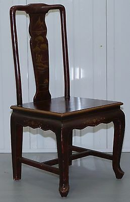 Antique Lacquered Chinese Wedding Chair Of Medium Proportions Bonsai Tree Detail