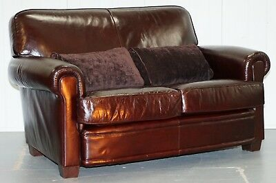 Small 142Cm Wide Rrp £2800 All Leather Tetrad Motrose Two Seater Sofa Feather