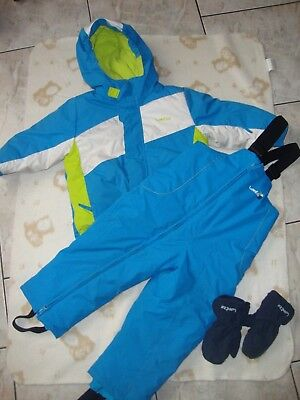 Ensemble ski manteau doudoune + salopette bleue DECATHLON 2 ans 3 ans +  gants 33d14fd9455