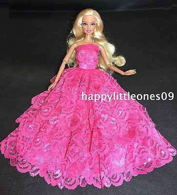 New Barbie Doll Wedding Party Evening Dress 4-Layer Lace Trim Pink & Shoes Set