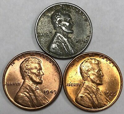 Lot of (3) Lincoln Wheat Cents. 1943 S, 1949, & 1955 D.
