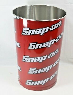 Collectible Snap On Tools Metal Trash Can Logo Design Red and Black