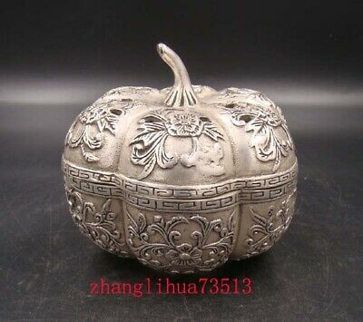 Collectible Handmade Carving Statue Copper Silver Apple Incense Burner