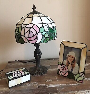 Vtg Tiffany Style Floral Stained Glass Tabletop Lamp, Picture Frame, Trinket Box