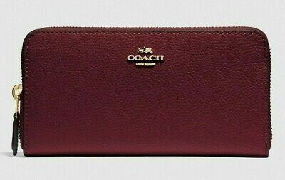 New Coach 16612 Accordion Zip Pebbled Leather wallet Wine