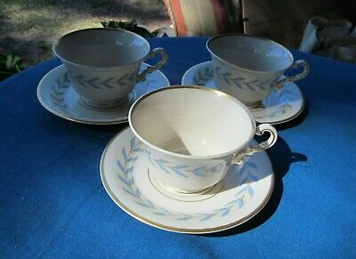 Syracuse China Old Ivory Sherwood 3 Footed Cups & 3 Saucers Blue Laurel Usa