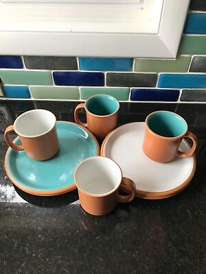 Vintage 8 pc Japan Crown Corning Set in Terracotta Turquoise and White, Mint Con