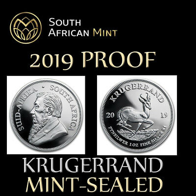 MINT SEALED 2019 South Africa Silver Krugerrand Proof R1 1 RAND unopened
