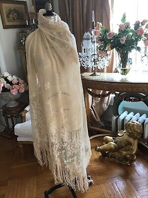 shabby Antique vtg Net Lace Tambour? Panel Fringe Piano Shawl curtain panel
