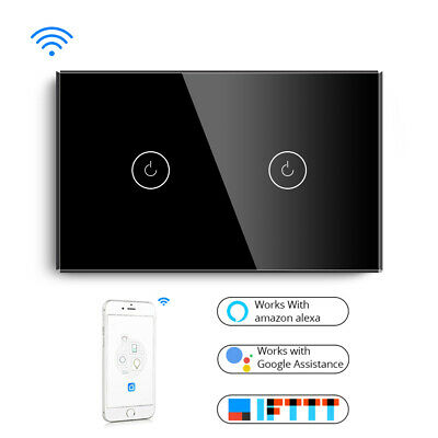 BSEED WIFI WALL Touch Switch 2 Gang 1 Way 10A Glass Smart Switch Tuya APP