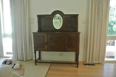 antique english oak jacobean revival sideboard oval mirror fully restored