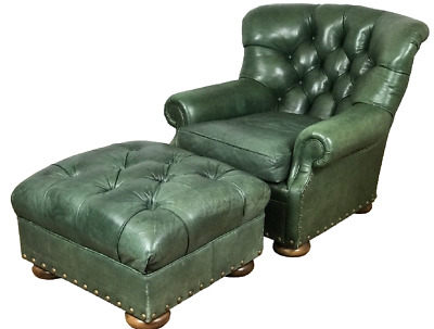 Prime Sam Moore Green Leather Tufted Lounge Writers Chair With Uwap Interior Chair Design Uwaporg