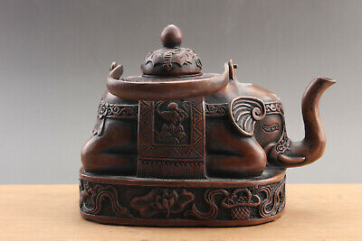 Exquisite Chinese pure copper Carved  Teapot XUANDE mark  ar80