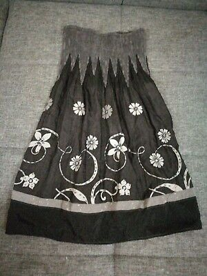 6f54aeb720 OS One Size Lapis Dark Grey Strapless Convertible Tube Dress/Skirt Floral