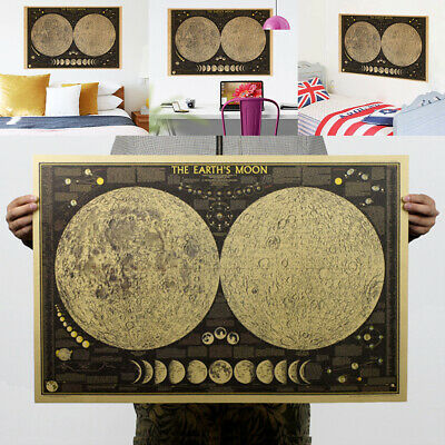 Large Retro Earth Moon World Map Poster Paper Wall Chart Bedroom Hanging Decors