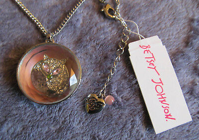 Exclusive Online BETSEY JOHNSON Silvertone Faceted FOX SPINNER Necklace $55 NWT