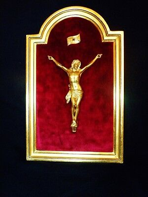 Superb French 19th Century Guilded Crucifix Figure With Gold Leaf Frame