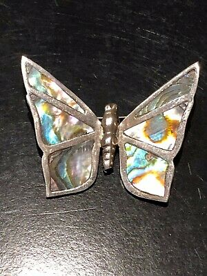 Vintage Mexico 925 Sterling Silver Abalone Shell Butterfly Pin Brooch Stamped