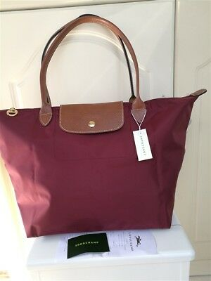 NEW LONGCHAMP LE Pliage Tote Nylon Handbag Red Size L -  46.00 ... a6cc1508b8d5f