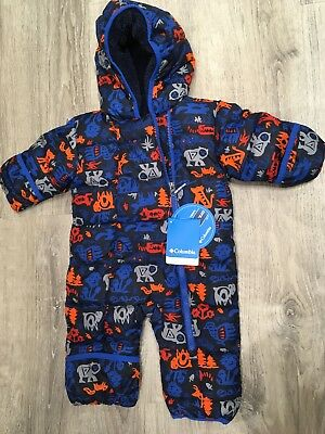 75bb2f18bf5e NEW 3-6 MONTH Columbia Snuggly Bunny Down Bunting Blue Snowsuit ...