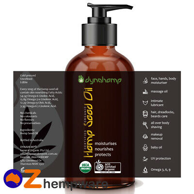 Hemp Seed Oil Certified Organic Cold Pressed Body Moisturiser Massage Edible Oil