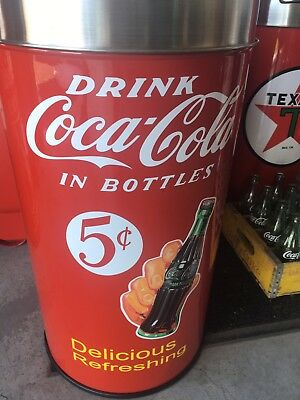 "Round Top Coca Cola ICE COLD Trash Can SS TOP 12 Gal. 29"" Tall"