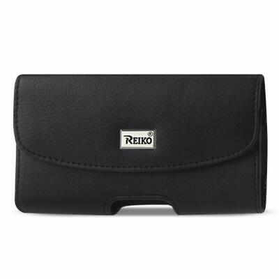 Reiko Horizontal Leather Pouch With Embossed Logo In Black (6.6X3.5X0.7 Inches)