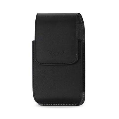"Leather Vertical Pouch Embossed Reiko Logo & Simple Design 7.0""X3.9""X0.7"" Black"