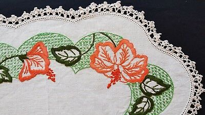 Vintage Hand Embroidered Tray Cloth, Large Oval Linen Doily Floral Crochet Edge
