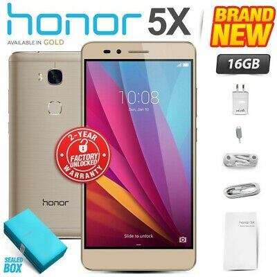 New & Sealed Factory Unlocked HONOR 5X Gold 16GB Dual SIM Android Smartphone