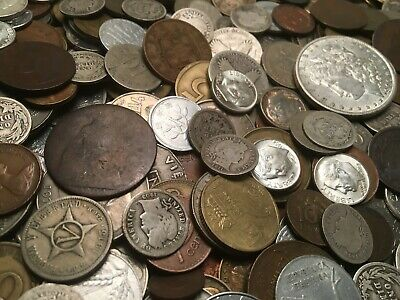 Old Coin Collection Lot ONE POUND WORLD & US COINS SILVER, 1800'S, 100+ COINS!