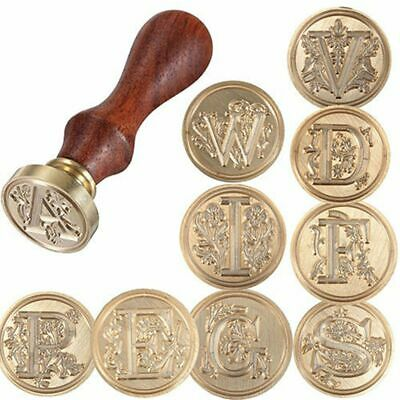 Wood Handle Wax Seal Stamp Brass Head 26 Letters A-Z Alphabet Initial Flower