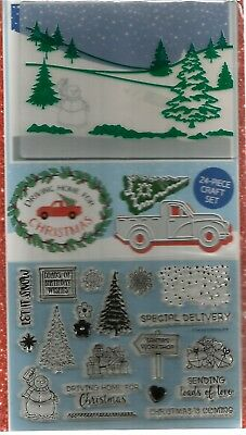Driving Home For Christmas  Stamps, Dies  & Embossing Folder.