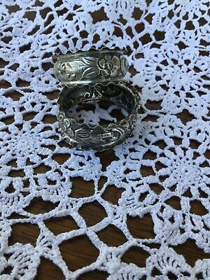 Pair Antique Sterling Silver Hallmarked Repousse Napkin Rings