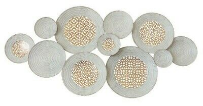 Circles Metal Hanging Wall Art Abstract Sculpture White Gold Home Décor *123 cm*