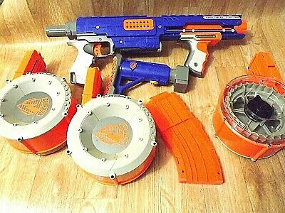 Lot Nerf N-Strike Raider CS-35 Soft Dart Gun (3) 35 rd Drums, 10 rd clip, Stock