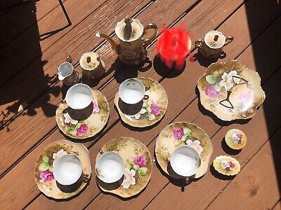 VTG Lefton Heritage YellowTea Set Pink Roses Gold Trim Luncheon Dessert Serves 4
