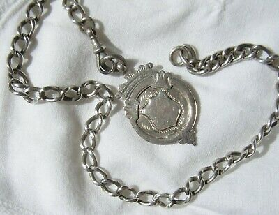 Vintage Sterling Silver Watch fob & Chain .  Hallmarked  21.2 grams