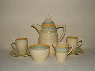 Clarice Cliff Art Deco Liberty Stripes Lynton Shaped Coffee-4-Two Truly Stunning