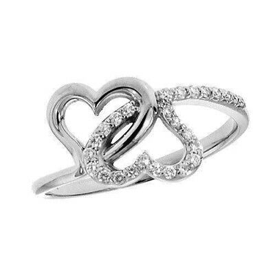 0.55Ct Natural Round Diamond 14K Solid White Gold Wedding Anniversary Heart Ring