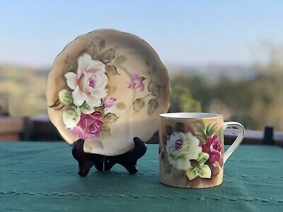 Vintage LEFTON (Japan) Hand Painted Roses Cup Mug With Saucer  SL3918