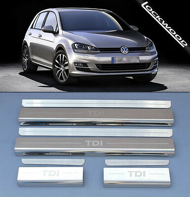 VW Golf Mk7 TDi (Released 2013) 4 Door Stainless Sill Protectors / Kick Plates