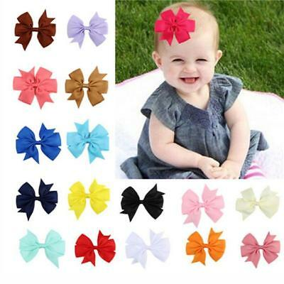 Baby Kids Girls Hair Bows Clip Grosgrain Ribbon Headwear Hair Accessories RU