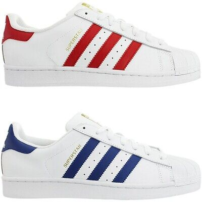 Details about Adidas Superstar Foundation men's low top sneakers red or blue leather NEW