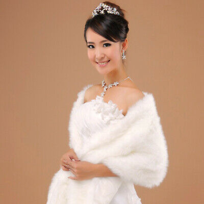 Elegant Long Hair Faux Fur Wedding Shawl Stoles Wraps Cape for Women Beige
