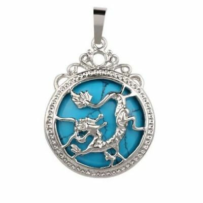 fashion turquoise silver dragon phoenix pendant necklace +Free chain