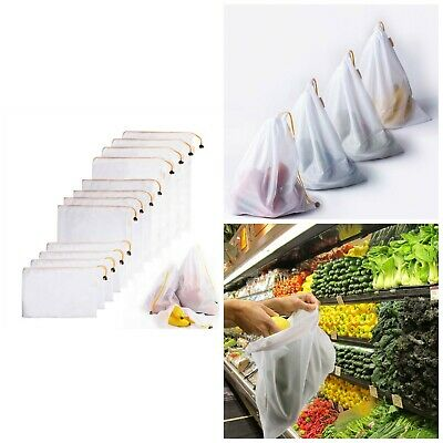 Reusable Mesh Produce Bags Grocery Fruit Shopping Washable Eco Friendly Net New