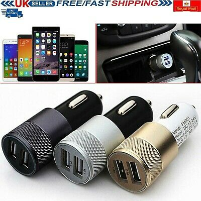 Car charger 2.1A Twin Port LED USB Alloy Universal Fast Charging Samsung iPhone